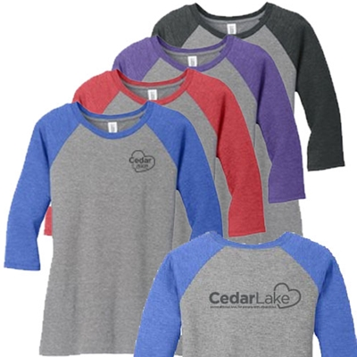 NEW!<br>CL171<br>Ladies Perfect Tri 3/4 Sleeve Raglan