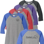 CL171<br>Ladies Perfect Tri 3/4 Sleeve Raglan