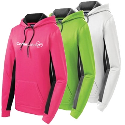 CL14450<br>Ladies Sport-Wick Fleece Colorblock Hooded Pullover - 50th Logo