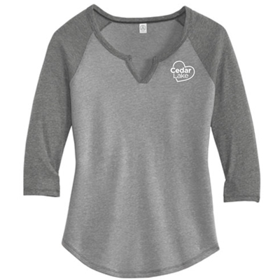 CL199<br>Ladies Outfield 3/4-Sleeve Vintage 50/50 Tee